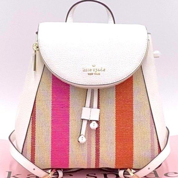NWT Kate Spade1 - Leila Striped Canvas Pebble Leather Medium Flap Backpack8.4